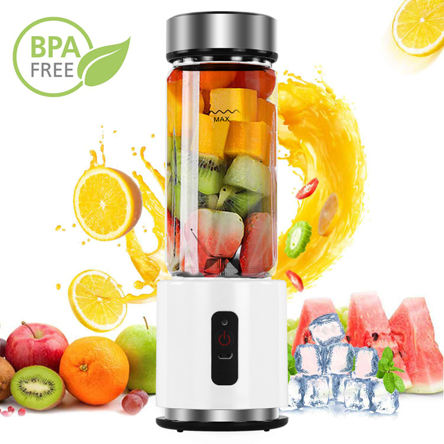 BPA ÜCRETSIZ USB Şarj Edilebilir smoothie blenderı Pil Kişisel 380ml Cam smoothie blenderı Sıkacağı Kolay Küçük Taşınabilir Blender