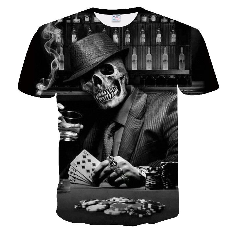 Hot Sale Skull Printed 3D T Shirt Men Women Short Sleeve Summer Tee Tops For Male Poker Design Tee Shirt Homme Drop Ship