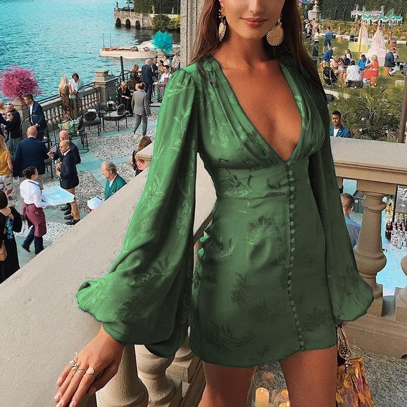 Misswim Vintage Green Bodycon Dress Women Winter Autumn Lantern V-neck Dresses Single Breasted A-line Mini Dress Elegant Vestido