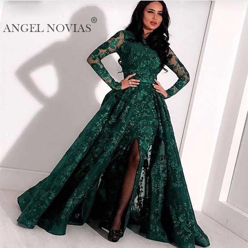 Real manga larga verde encaje sirena alto cuello árabe vestido de noche 2020 kaftan Dubai Formal vestidos de noche con falda de quita y pon - 2