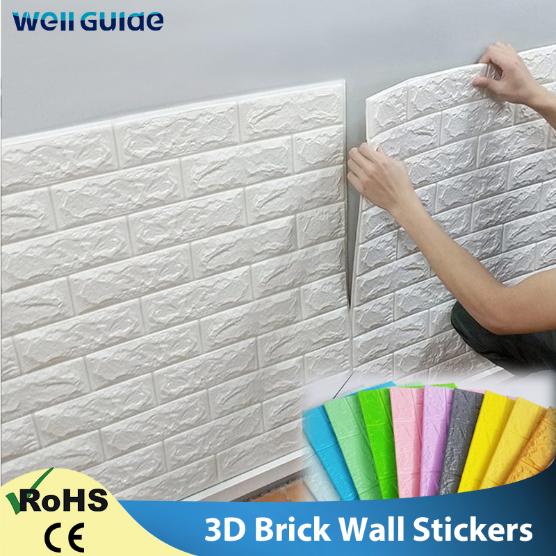 3D Wallpaper DIY 3D Brick Stone Pattern Self-Adhesive Waterproof Wall Stickers 70*77cm Floral prints Wall Panels For Living Room