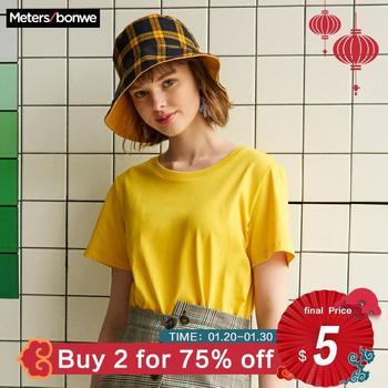 Metersbonwe Neue Baumwolle Harajuku Ästhetik Tshirt Feste Farbe Kurzarm Tops & Tees Fashion Casual Paar T Shirt