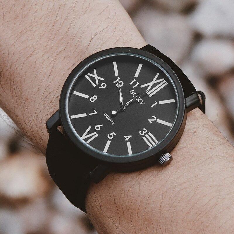 SOXY Brand Men's Watch Luxury Quartz Watches Roman Numerals Dial Black Leather Strap Clock Zegarek Meski Erkek Kol Saati