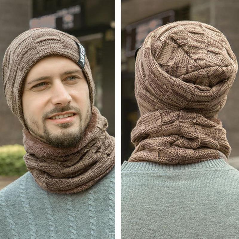 Men Winter Knit Fashion Cap Cotton European American Casual Hats Suit With Headgear Bib Velvet Thick Wool Warmer Hats Baker Boy