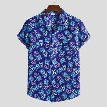 Casual Work Shirt Men Fashion Ethnic Short Sleeve Shirts For Men Hawaiian Printing Shirt Blouse Tops Camisas para hombre hawaiian shirt male short sleeve casual shirt for men fashion stripe blouse men summer new