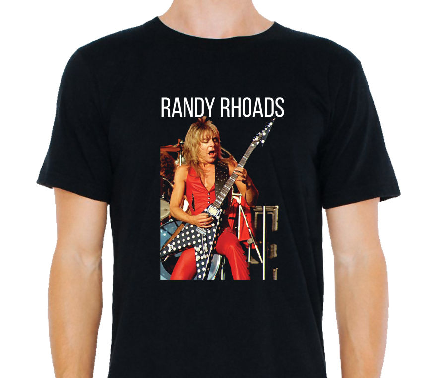 <font><b>Randy</b></font> <font><b>Rhoads</b></font> American Heavy Metal Guitarist Men's T-SHIRT Classic Cotton Men Round Collar Short Sleeve Top Tee image