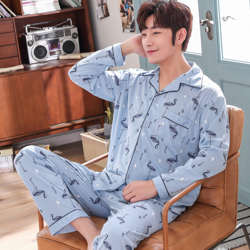 Pajamas Men Pure Cotton Long Sleeve Spring And Autumn Large Size Autumn And Winter Thin Greenish Blue Middle-aged Tracksuit Men'