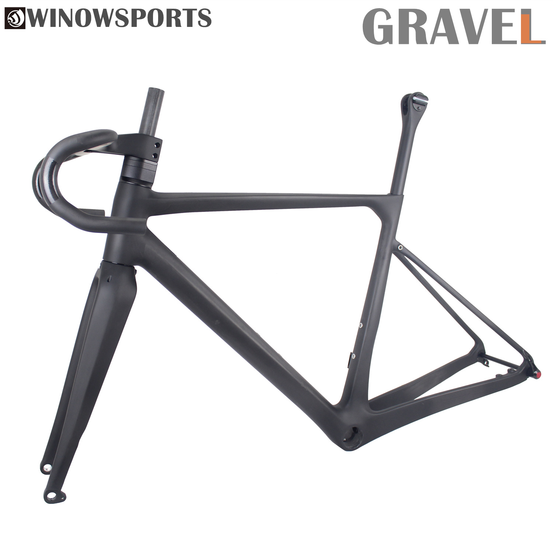Winow 2020 All Inner Cable Handlebar Routing Carbon Gravel Bike Frame Thru Axle 12x100mm 12x142mm Super Light Gravel Disc Frame
