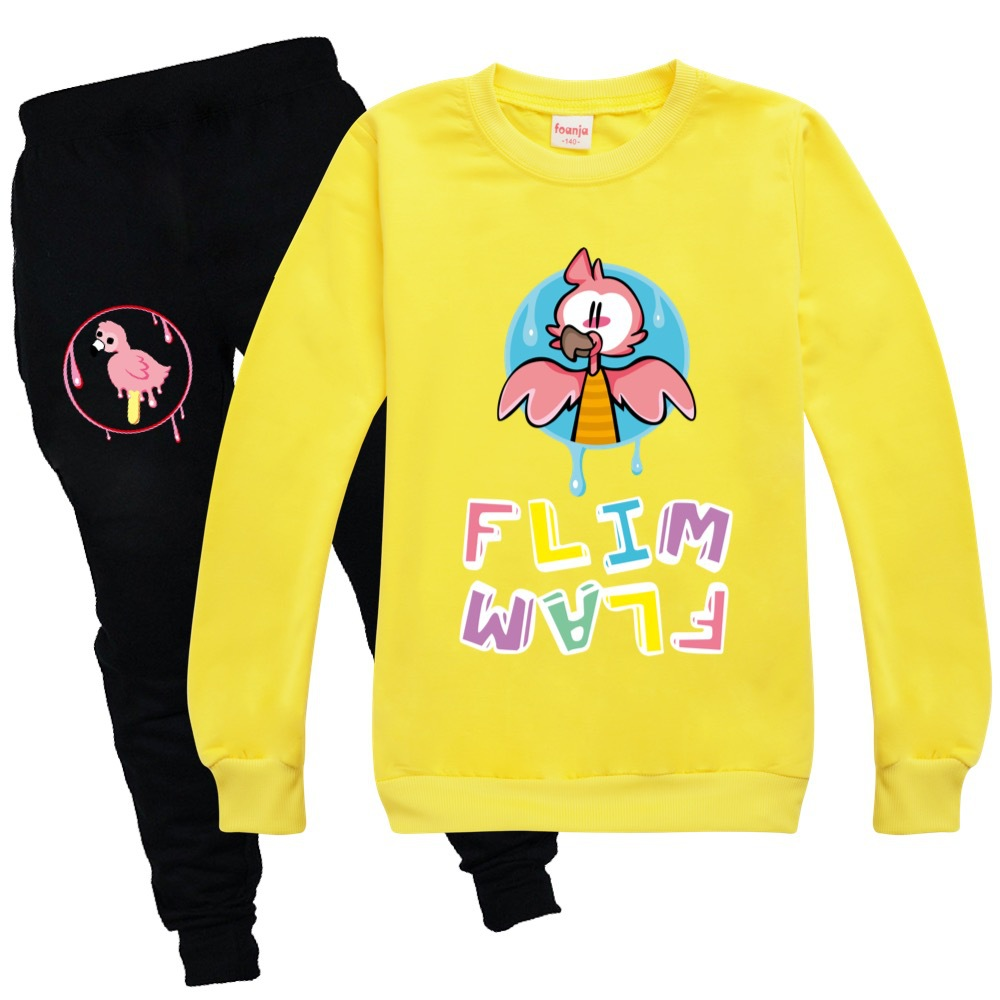 Toddler Girl Fall Clothes 2020 Girls Boutique Outfits Round Neck Sweater + Casual Pants Cotton Flamingo Flim Flam Boys Shirt Set 4