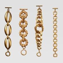 Dvacaman ZA, золотой цвет, браслет-цепочка для женщин, Модный женский браслет, металлический Макси-Шарм, массивный браслет,, двойной, Eleven, подарок