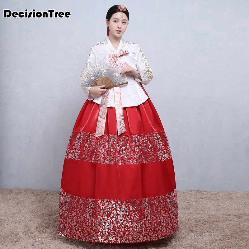2019 Women Traditional Korean Hanbok Female Embroidery Palace Korean Hanbok Dress Ethnic Minority Printed Dance Stage Costume