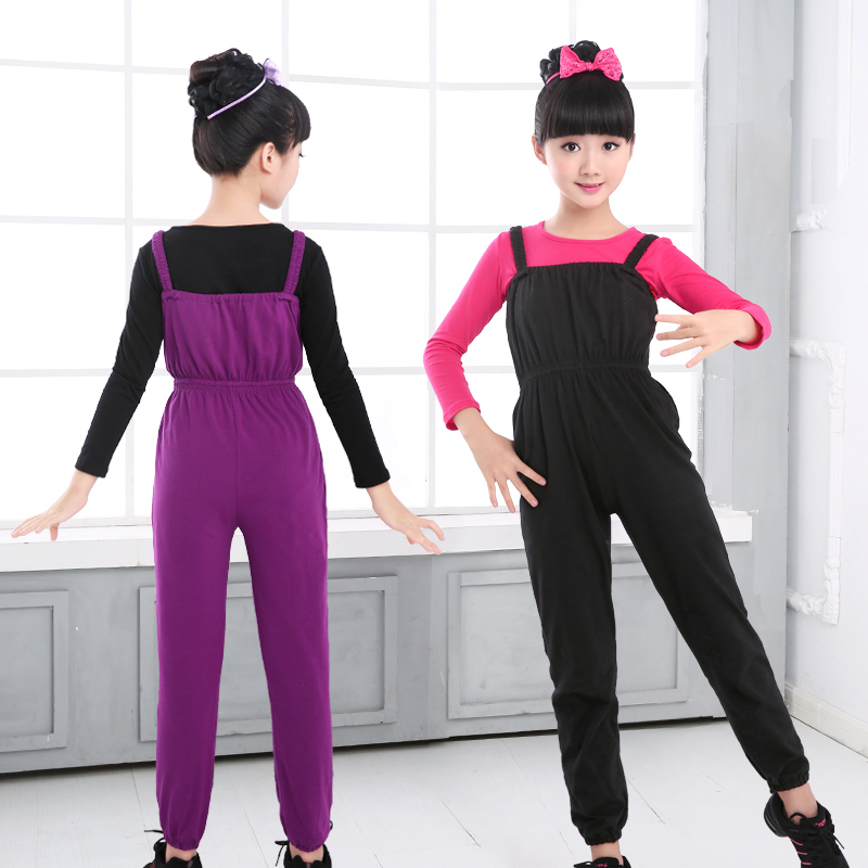 Girls Kids Ballet Leotard Jumpsuit Children Cotton Gymnastic Suspenders Pants Black Purple Clothes Dancewear