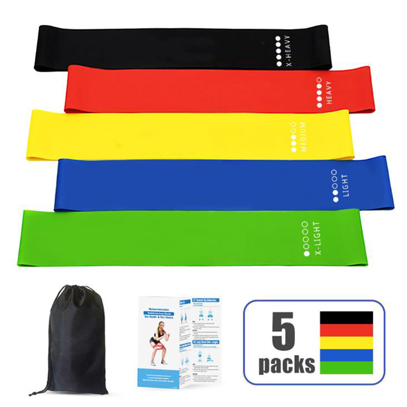 Resistance Rubber Bands 5 Colors Yoga Indoor Outdoor Fitness Equipment 0.35mm-1.1mm Pilates Sport Training Workout Elastic Bands
