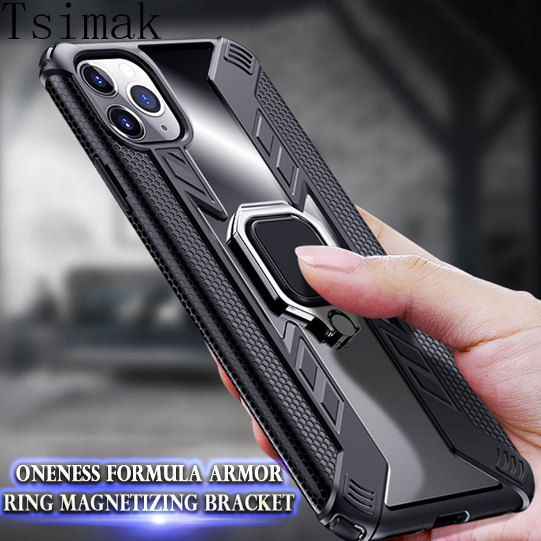 Shockproof Case for iPhone 11 Pro Max Magnetic Car Holder Armour Back Cover Coque for iPhone X XR XS Max 6s 6 7 8 Plus ტელეფონი Case
