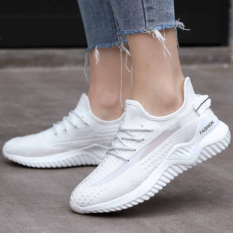 JOKIHA 2020 Women's Sneakers Flats Sneakers Shoes Sport Woman White Fashion Sneakers Ladies Brand Jogging Shoes Big Size