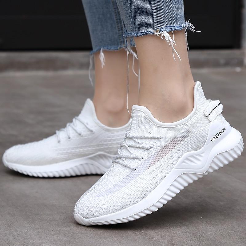 JOKIHA 2020 Women's Sneakers Flats Sneakers Shoes Sport Woman White Fashion Sneakers Ladies Brand Jogging Shoes Big Size