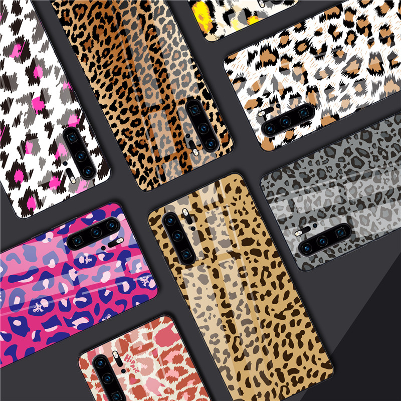 Leopard Print Phone Case for Huawei <font><b>Mate</b></font> <font><b>20</b></font> Lite P30 P20 Lite Nova 3 P smart Z Honor 9 10 Lite 8X Tempered Glass <font><b>Sexy</b></font> Case Cover image