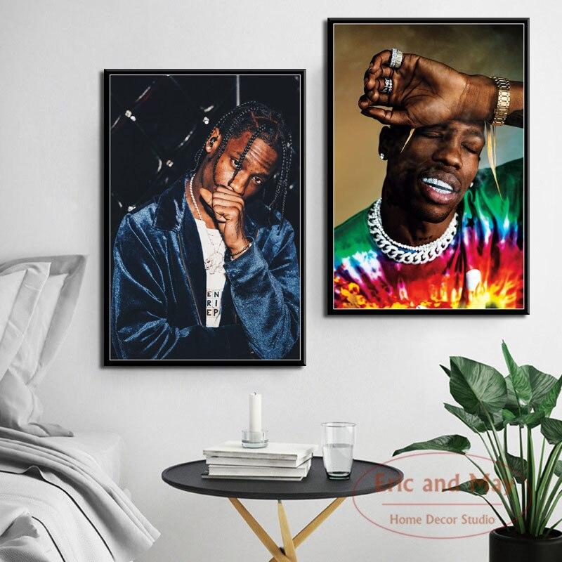 Travis Scott Music Star Rap Hip Hop Rapper Fashion Model Art Painting Vintage Canvas Poster Wall Home Decor