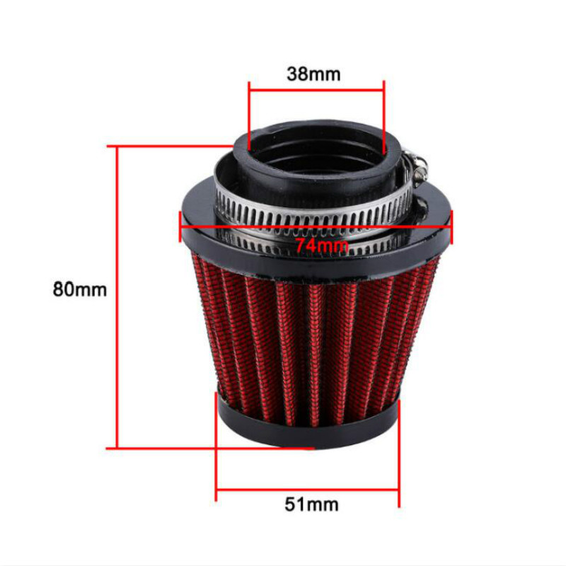 Gold Air Filter with Clamp 38mm Air Filter Intake Induction Kit for Off-road Motorcycle ATV Quad Dirt Pit Bike
