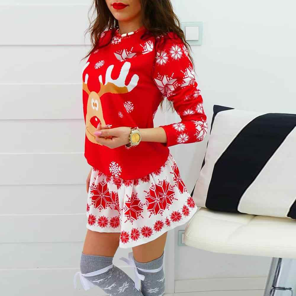S-XL Plus Size Tunic Autumn Women Dresses Casual Cartoon Print Christmas Dress Casual Loose Long Sleeve Party Dress Vestidos