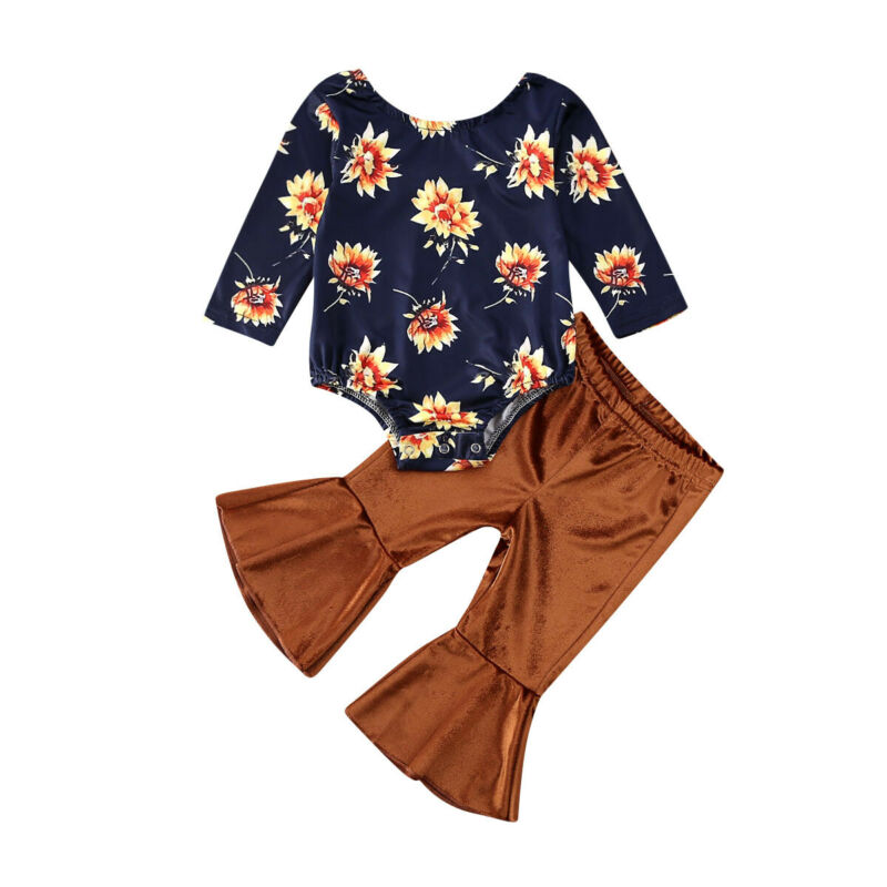 Spring 0-24M Newborn Baby Girl Clothes Set 2PCS Cute Flower Long Sleeve Top Romper Velvet Pants Girl Outfit Clothes