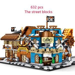 Новый 4 в 1 Мини Пираты город уличное здание блок бар кузнеца барбекю магазин строительные блоки кирпичи создатель дети игрушки подарок