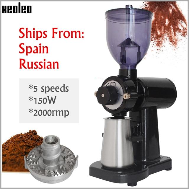 XEOLEO مطحنة بن كهربائية شبح الأسنان تصفية ماكينة القهوة لدغ طاحونة القهوة المنزلية ميلر 5 خطوات 150 واط أبيض/أسود