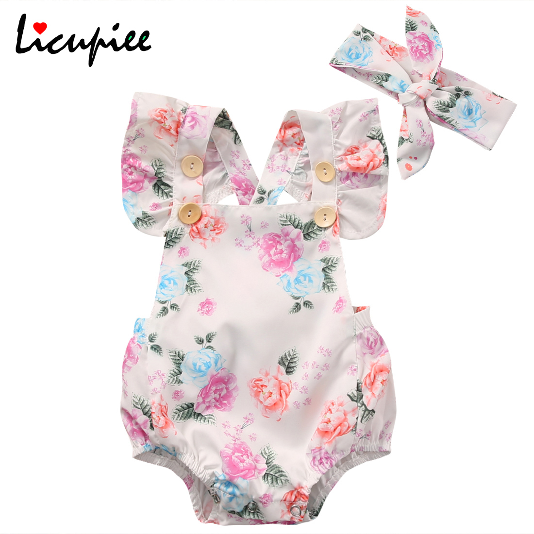 Licupiee 2PCS Baby Girls Infant Summer Fly <font><b>Sleeve</b></font> Floral <font><b>Bodysuit</b></font> Headband Clothes Sets 0-24 Months image
