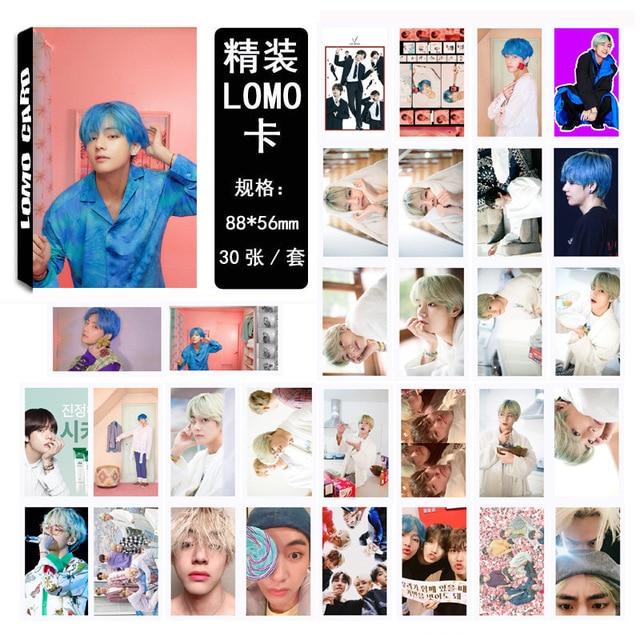 30pcs / set Kpop Bangtan boys V New Map SOUL PERSONA Boys LUV Lomo Cards Postcard Self made Photo Fan Gift