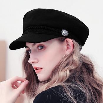 Women Baseball Cap Hats For Women Winter Octagonal Fashion French Wool Baker's Boy Hat Cap Female Black Streetwear Caps 2019 2