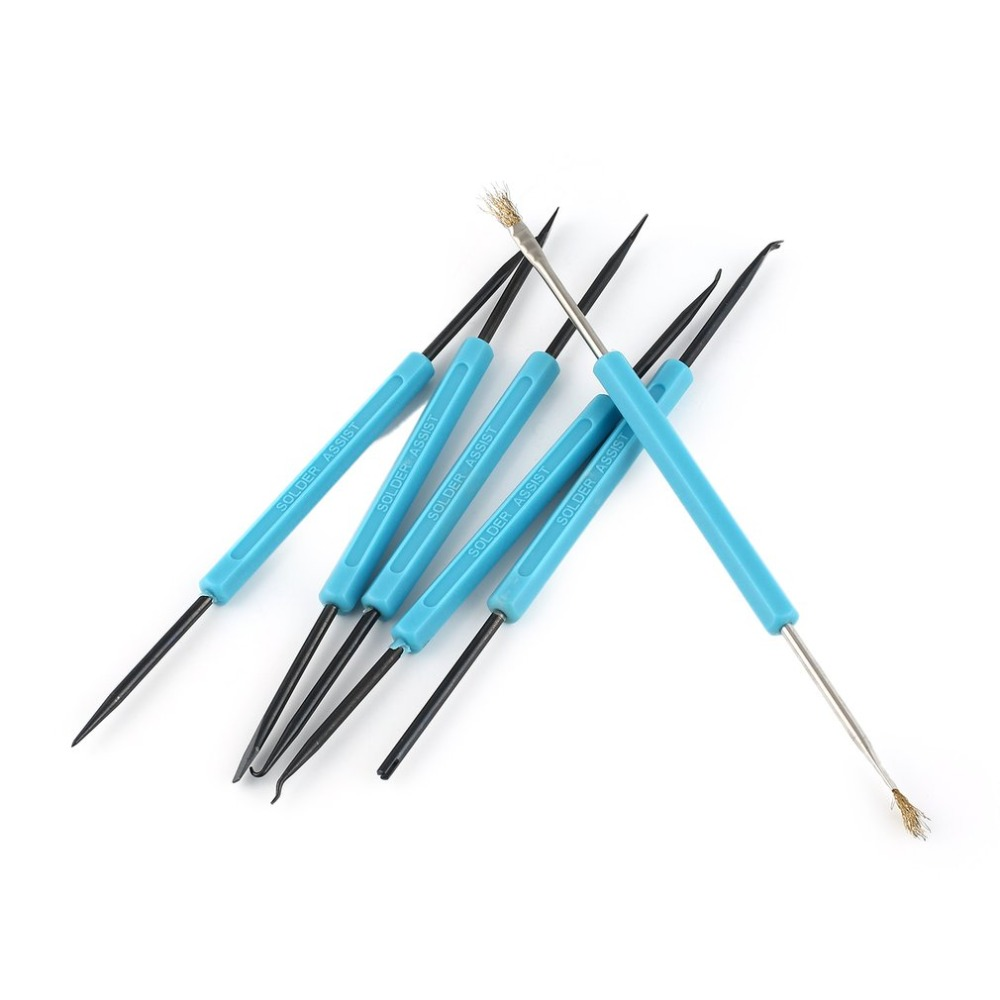 6Pcs Welding Solder Soldering Station Iron Tool Electronic Heat Assist Set Knife Fork Reamer Chip Hold Brush Needle Kit