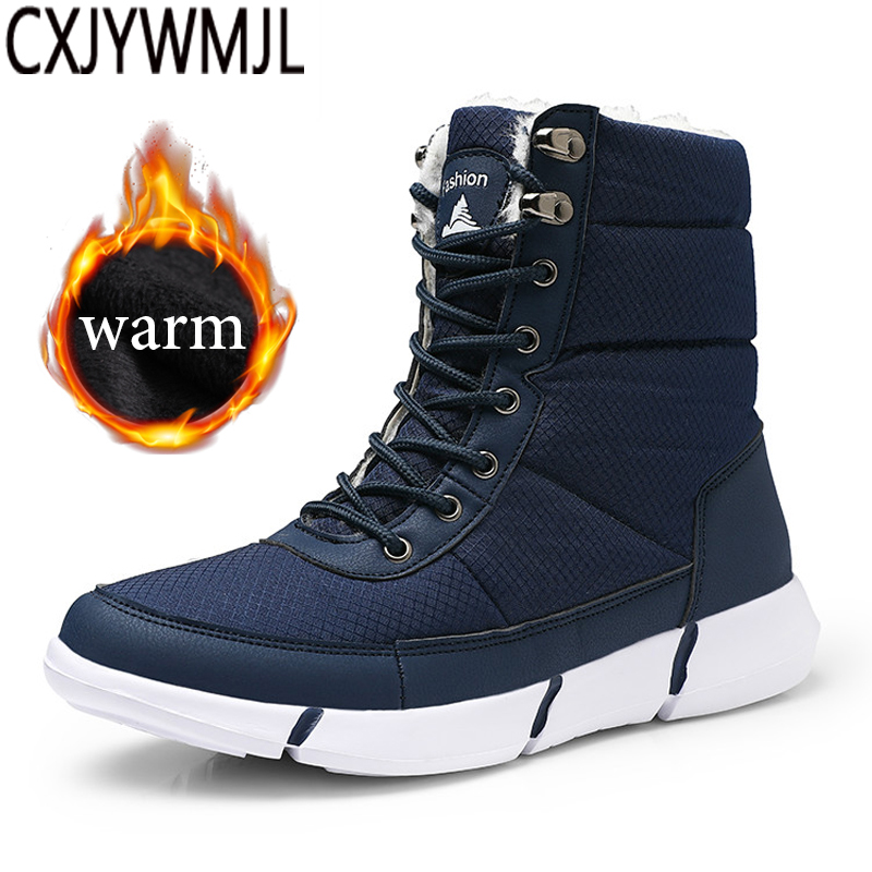 Winter Men Snow Boots Waterproof Lightweight Man Desert Boots Unisex Fur Plush Warm Snow Shoes For Male Ankle Boots Booties 6857