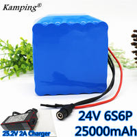 2019 high quality 6S6P 24V 25Ah battery 250W 25.2V 25000mAh lithium ion wheelchair battery electric bicycle + 25.2v 2A charger
