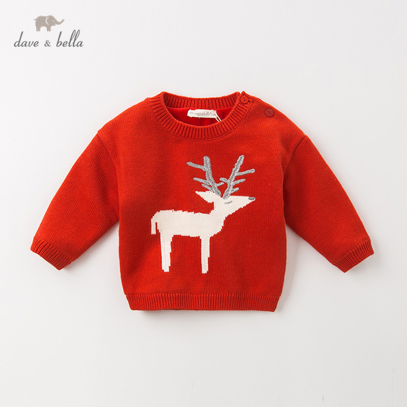 DB11772 dave bella winter cute baby girls Christmas cartoon knitted padded sweater kids fashion pullover toddler boutique tops
