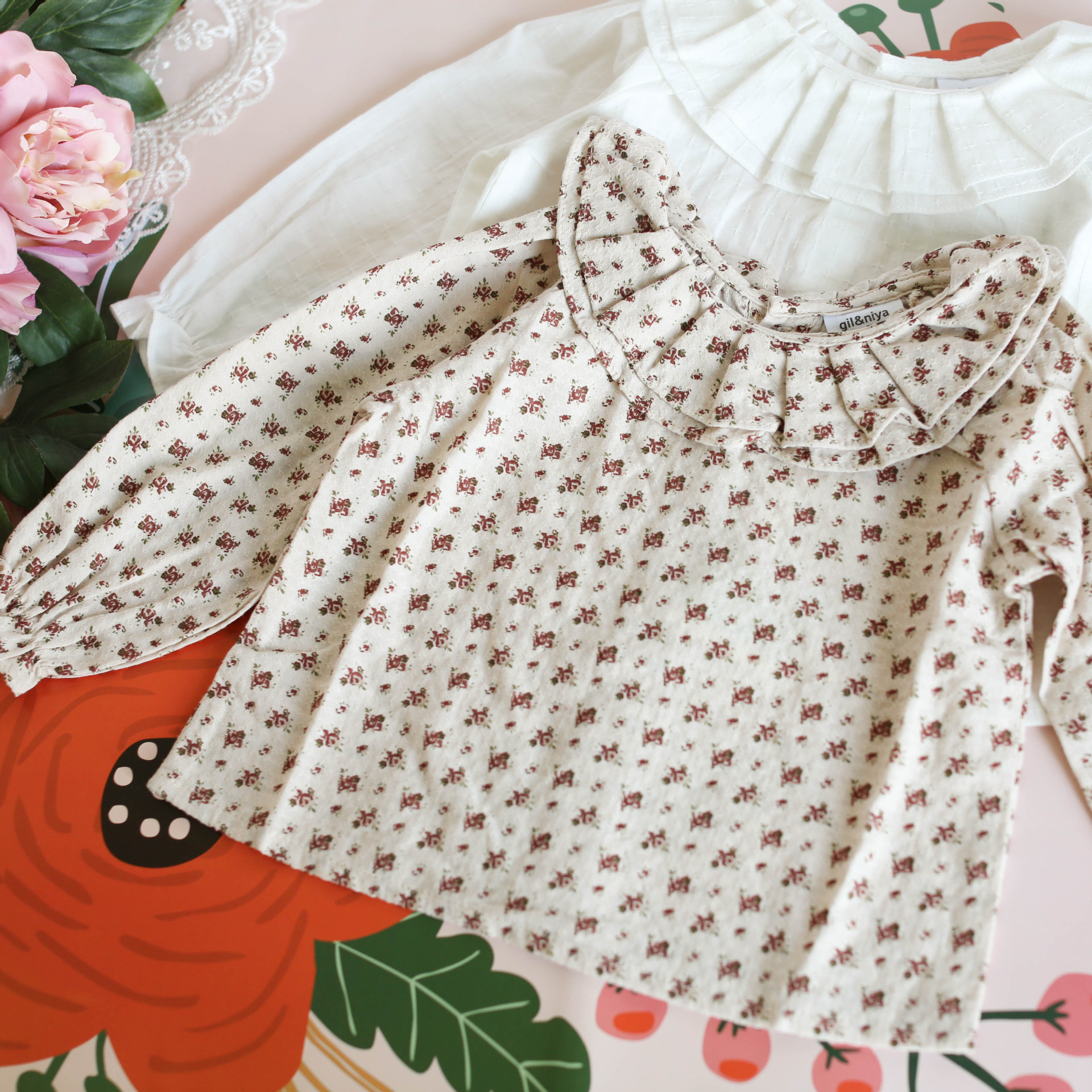 New Style Korean-style Baby Girl Base Shirt Girls Printed Pleated GIRL'S Shirt Cotton Cloth Jacquard Shirt Front And Back Double