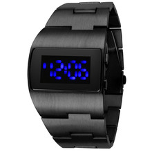 Fashion Stainless Steel Men Sports Electronic Watches Mens Digital Watches Blue Light Led Mens Watches Fashion Iron Men Watches cheap WoMaGe Alloy 23cm No waterproof Bracelet Clasp Rectangle 20mm 8 5mm Glass LED display Complete Calendar No package 40mm