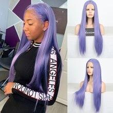 Харизма, Фиолетовый парик, длинный шелковистый прямой синтетический парик на сетке спереди, термостойкие волосы, бесклеевые парики на сетк...