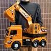 Big Size Techniek Voertuig Model Gegoten Legering Metalen Auto Graafmachine Kraan Mixer Truck Model Speelgoed Muziek Licht Voor kinderen Zand Spel