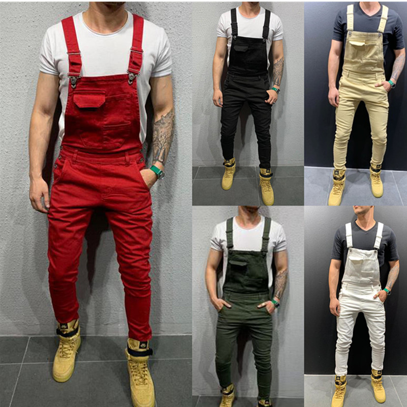 2019 Fashion Men's Ripped   Jeans   Jumpsuits Hi Street Distressed Denim Bib Overalls For Man Suspender Pants Cargo jumpsuit Size S-