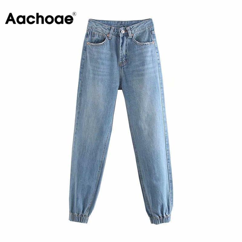 Aachoae Women Jeans Boyfriend Harem Pants 2020 Elastic Bottom Loose Streetwear Long Trousers Casual Cowboy Denim Pencil Pants