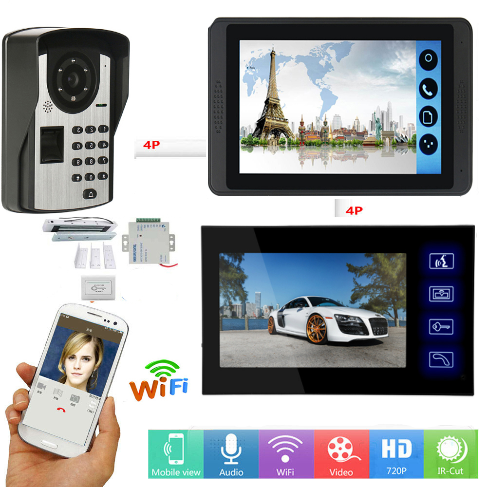 APP Control Video Intercom 7 Inch WIFI Wireless Video Door Phone Doorbell Password Fingerprint Intercom System+Door Opening Lock