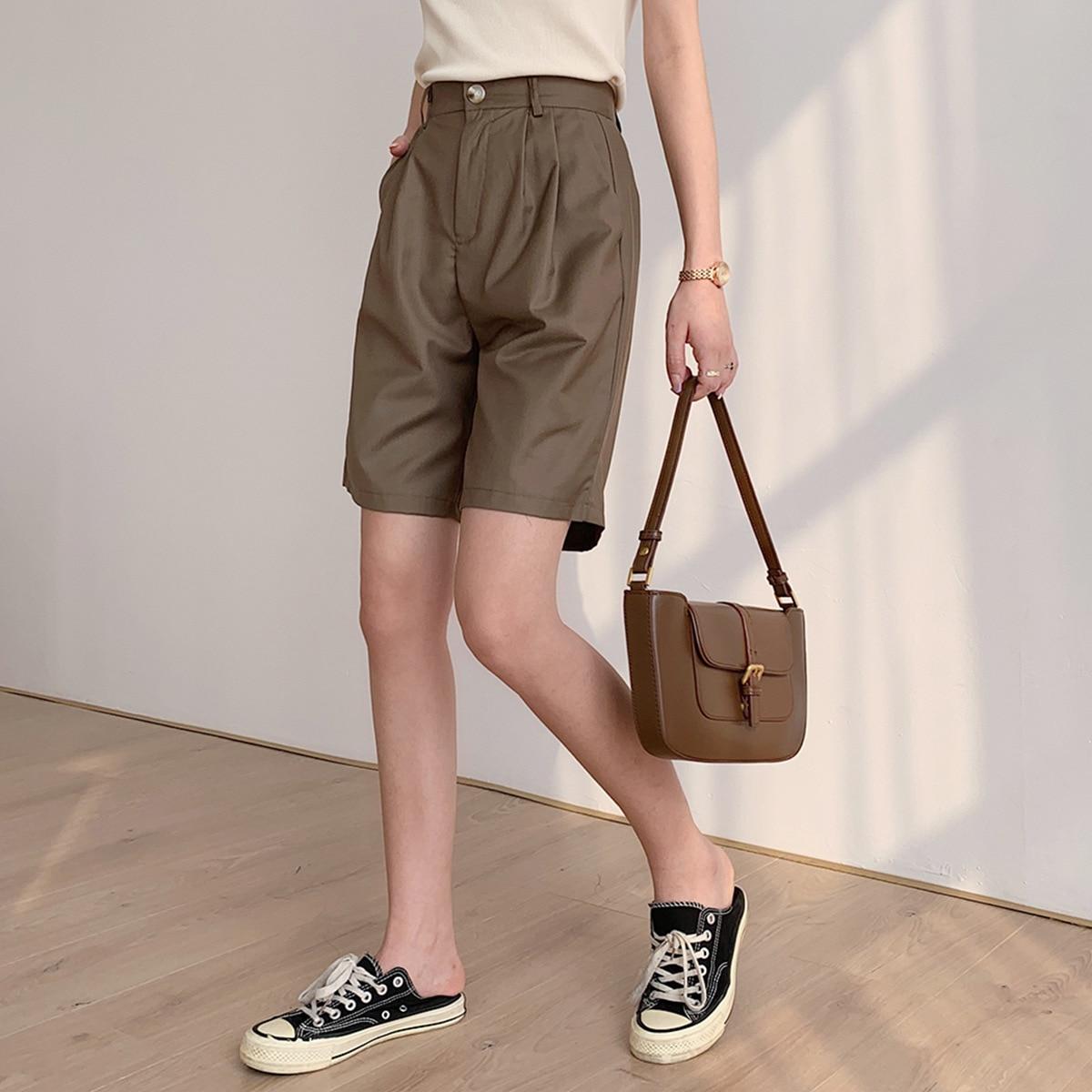 2020 New Women Summer White Short High Waist Women Casual Midi Shorts With Belt Wide Leg Boho Pantalones Feminino