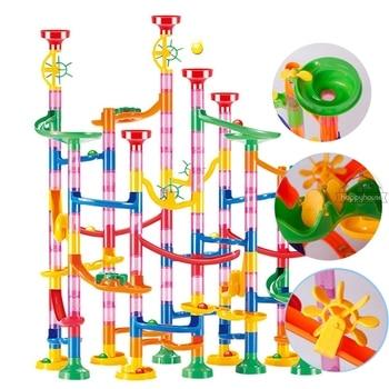 Marble Run Race Track Building Blocks Kids 3D Maze Ball Roll Toy DIY Coaster Set 80/105/109/133pc Christmas Gift