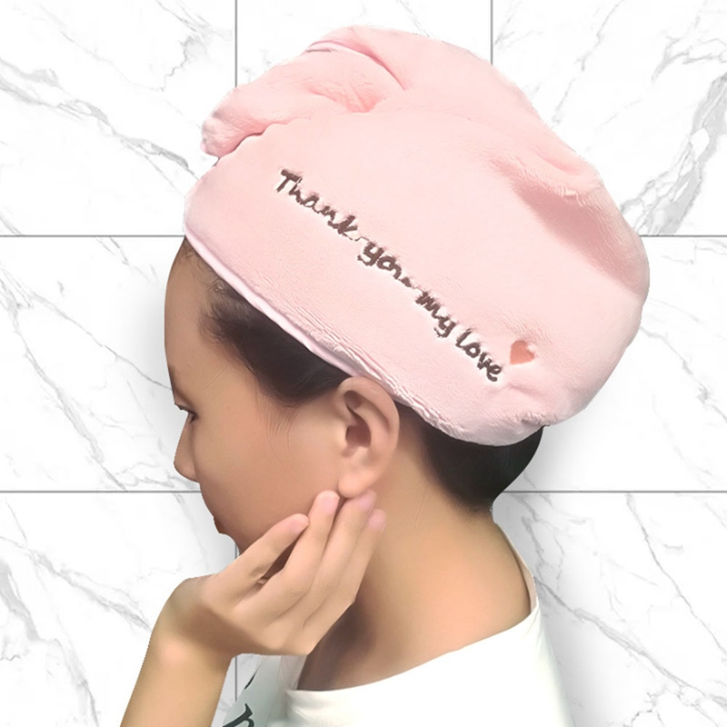 Thicken Hair Drying Towel Hat Cap Microfibre Quick Dry Turban For Bath Shower Pool White / Pink / Black (3 Colors Random)