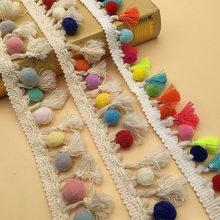 Fita de borla decorativa para costura diy, acessórios de roupas de algodão de 1-3 jardas