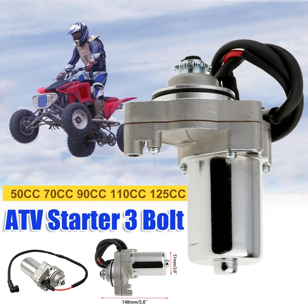 GMS 3 Bolt <font><b>Motor</b></font> Electric Starter <font><b>Motor</b></font> 12v for 50cc 70cc 90cc 110cc <font><b>125cc</b></font> 4 Stroke Engine Motorcycle Bike ATV Quad image