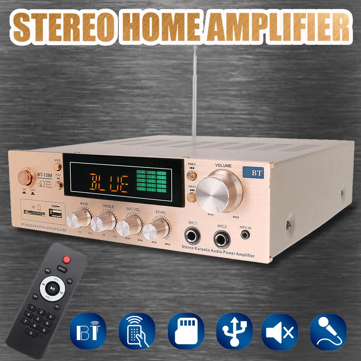 800W HIFI 2 Channel Home Bluetooth Stereo Amplifier Karaoke FM Radio USB SD Power Home Theater Amplifiers With Remote Controller