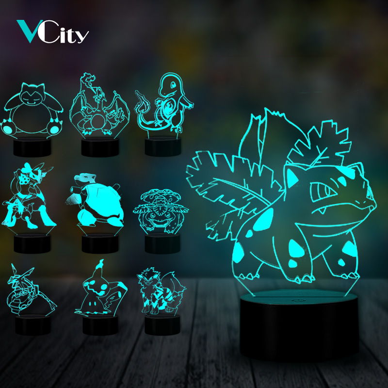 VCity Pokemon 3D Lamp Cartoon Snorlax Lvysaur Charmander Creative Nightlight Gifts For Kids Fans Home Atmosphere Lighting Decor