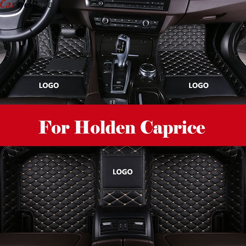 All Weather Car-Styling Custom Luxury Leather Waterproof Floor Mats Logo Stripe Leather Carpets For Holden Caprice
