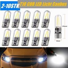 1/2/4PCS T10 194 168 W5W ใบอนุญาต COB LED CANBUS Silica กระจกรถยนต์อัตโนมัติด้านข้าง Marker Light โคมไฟสีขาว6000K 12V
